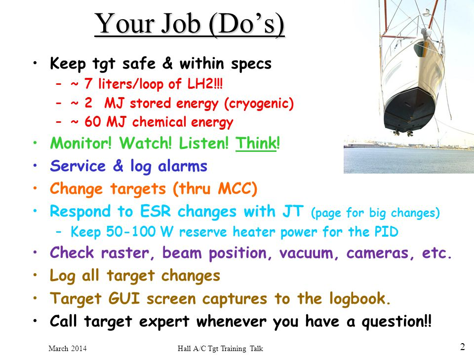 Hall A/C Tgt Training Talk March 2014 2 Your Job (Dos) Keep tgt safe & within specs –~ 7 liters/loop of LH2!!.