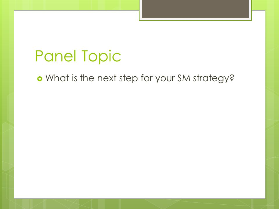 Panel Topic What is the next step for your SM strategy