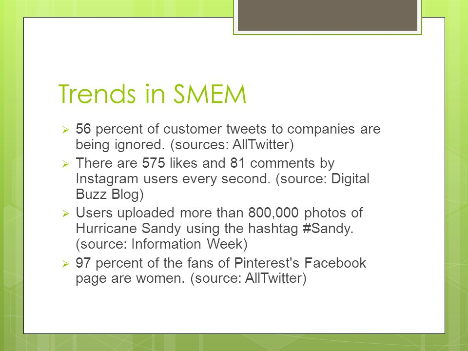 Trends in SMEM 56 percent of customer tweets to companies are being ignored.