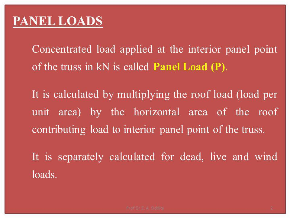 UDL (w D ) N/m 2 is converted Into Panel concentrated load P D = w D x s x p