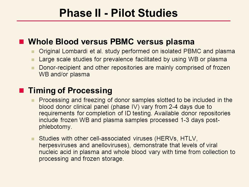 Phase II - Pilot Studies Whole Blood versus PBMC versus plasma Original Lombardi et al.
