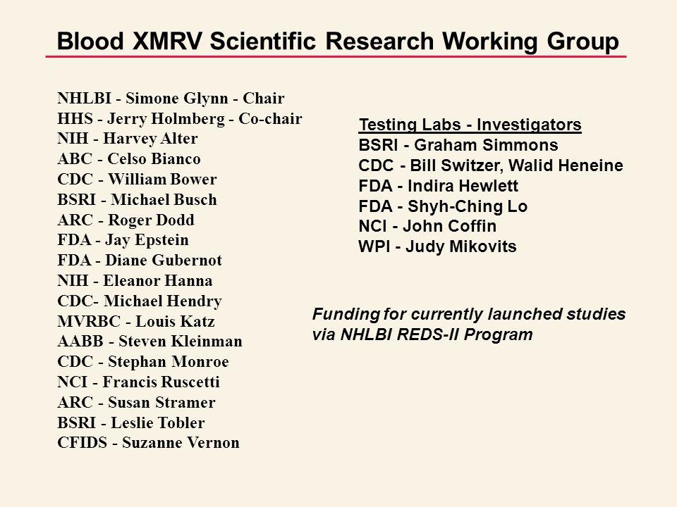 Blood XMRV Scientific Research Working Group Funding for currently launched studies via NHLBI REDS-II Program Testing Labs - Investigators BSRI - Graham Simmons CDC - Bill Switzer, Walid Heneine FDA - Indira Hewlett FDA - Shyh-Ching Lo NCI - John Coffin WPI - Judy Mikovits NHLBI - Simone Glynn - Chair HHS - Jerry Holmberg - Co-chair NIH - Harvey Alter ABC - Celso Bianco CDC - William Bower BSRI - Michael Busch ARC - Roger Dodd FDA - Jay Epstein FDA - Diane Gubernot NIH - Eleanor Hanna CDC- Michael Hendry MVRBC - Louis Katz AABB - Steven Kleinman CDC - Stephan Monroe NCI - Francis Ruscetti ARC - Susan Stramer BSRI - Leslie Tobler CFIDS - Suzanne Vernon