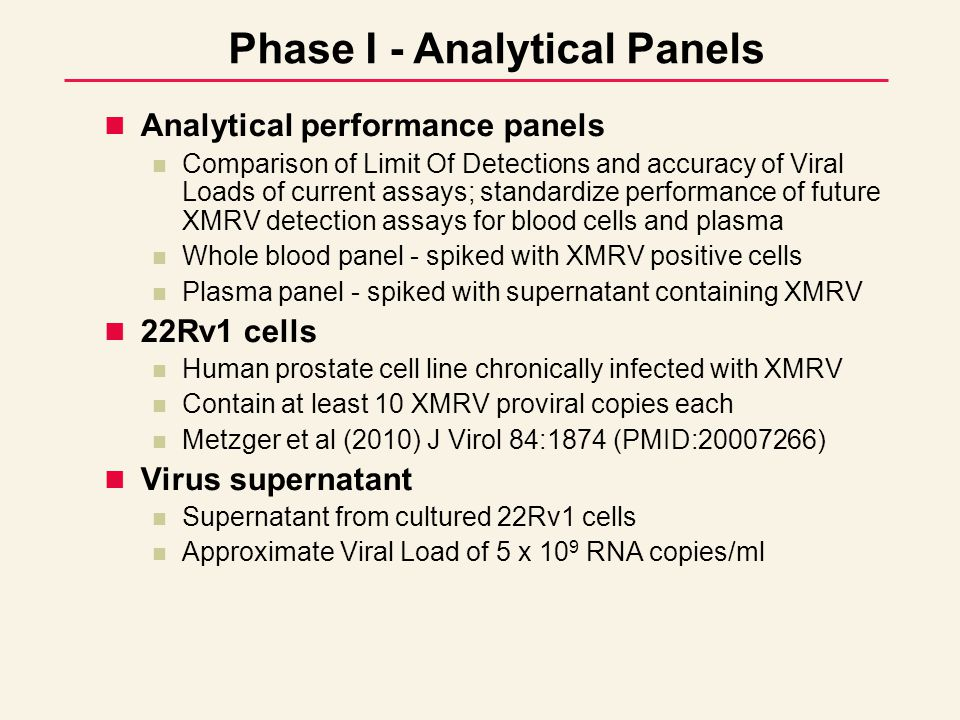 Analytical performance panels Comparison of Limit Of Detections and accuracy of Viral Loads of current assays; standardize performance of future XMRV detection assays for blood cells and plasma Whole blood panel - spiked with XMRV positive cells Plasma panel - spiked with supernatant containing XMRV 22Rv1 cells Human prostate cell line chronically infected with XMRV Contain at least 10 XMRV proviral copies each Metzger et al (2010) J Virol 84:1874 (PMID:20007266) Virus supernatant Supernatant from cultured 22Rv1 cells Approximate Viral Load of 5 x 10 9 RNA copies/ml Phase I - Analytical Panels