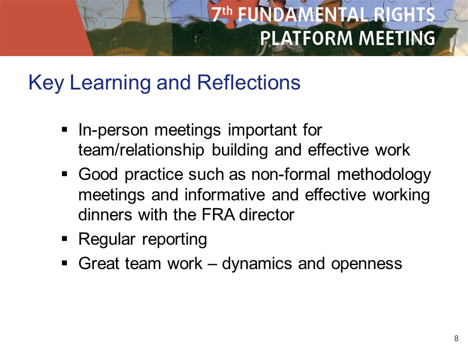8 Key Learning and Reflections In-person meetings important for team/relationship building and effective work Good practice such as non-formal methodology meetings and informative and effective working dinners with the FRA director Regular reporting Great team work – dynamics and openness