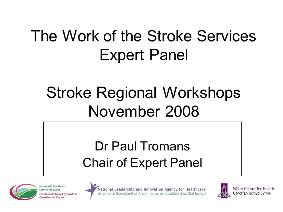 The Work of the Stroke Services Expert Panel Stroke Regional Workshops November 2008 Dr Paul Tromans Chair of Expert Panel