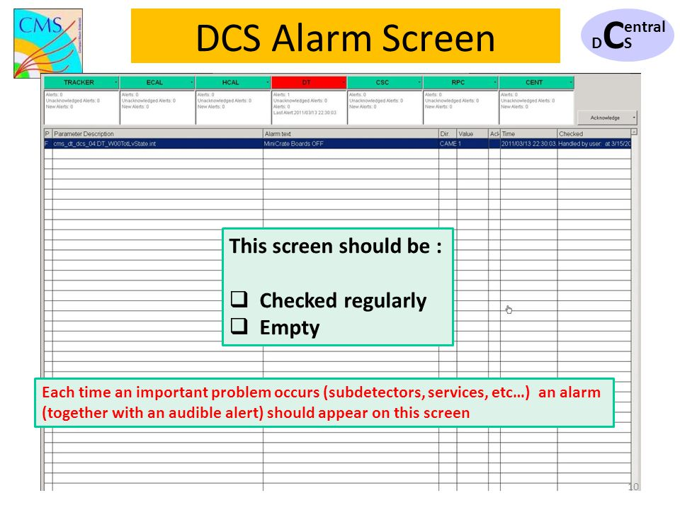 DCSDCS 10 DCS Alarm Screen This screen should be : Checked regularly Empty Each time an important problem occurs (subdetectors, services, etc…) an ala