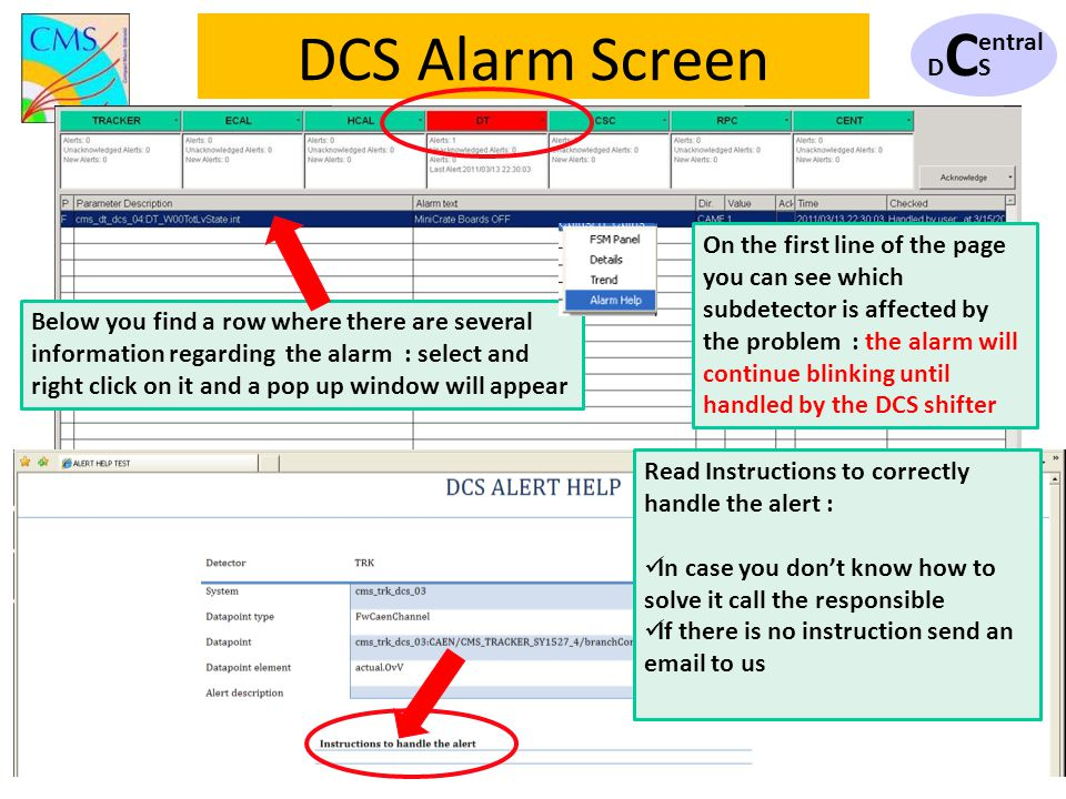 DCSDCS entral 11 DCS Alarm Screen Read Instructions to correctly handle the alert : In case you dont know how to solve it call the responsible If ther