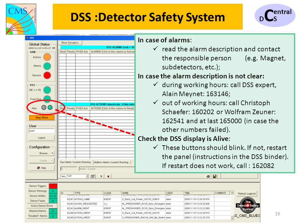 DCSDCS entral 19 DSS :Detector Safety System In case of alarms: read the alarm description and contact the responsible person (e.g. Magnet, subdetecto