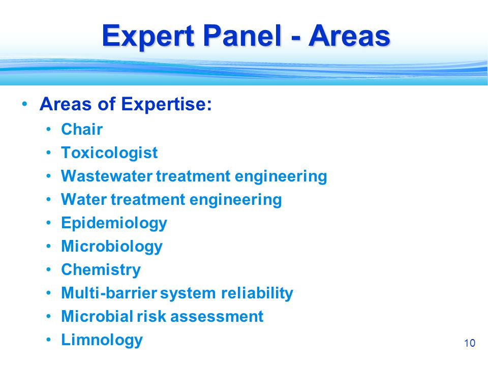 10 Expert Panel - Areas Areas of Expertise: Chair Toxicologist Wastewater treatment engineering Water treatment engineering Epidemiology Microbiology Chemistry Multi-barrier system reliability Microbial risk assessment Limnology