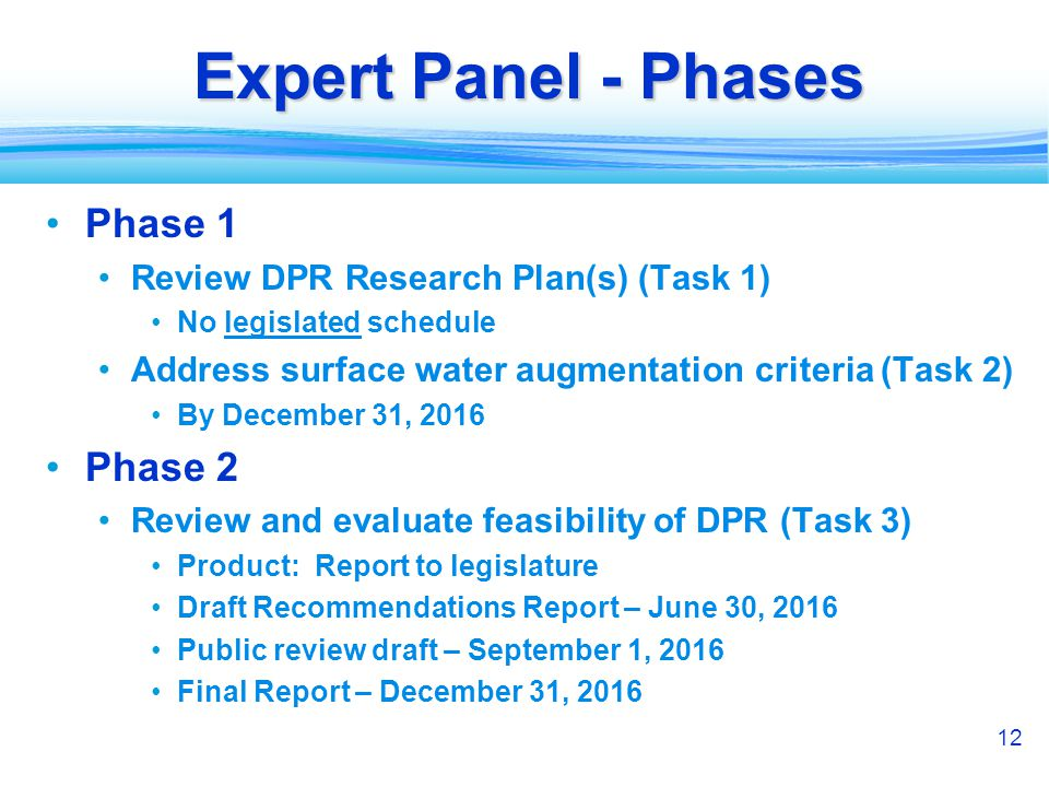 12 Expert Panel - Phases Phase 1 Review DPR Research Plan(s) (Task 1) No legislated schedule Address surface water augmentation criteria (Task 2) By D