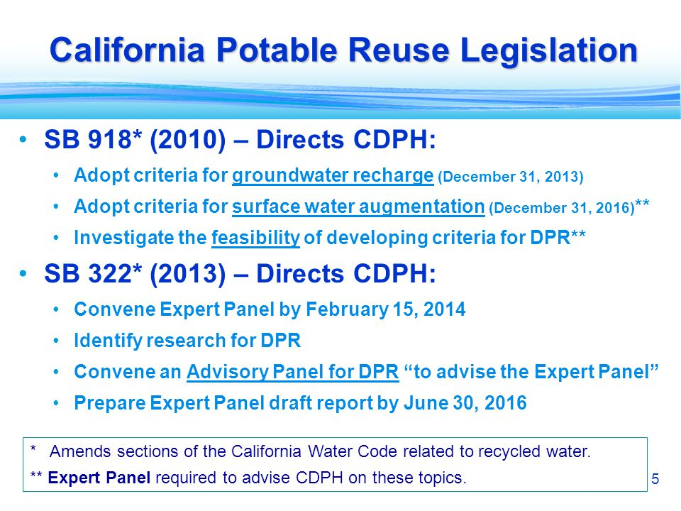 5 California Potable Reuse Legislation SB 918* (2010) – Directs CDPH: Adopt criteria for groundwater recharge (December 31, 2013) Adopt criteria for s