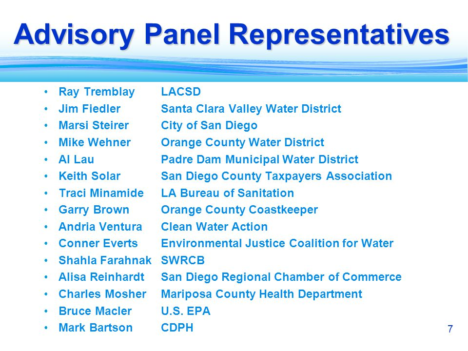 8 Advisory Panel (CDPH) Charge: Advise the Expert Panel regarding investigation of the feasibility of developing criteria for DPR Consult in selecting members of the Expert Panel Review the Panels draft report Open meetings Bagley-Keen Meeting Act Requirements Public participation encouraged Schedule Initial meeting: February 21 Discuss organization/operation of Advisory Group