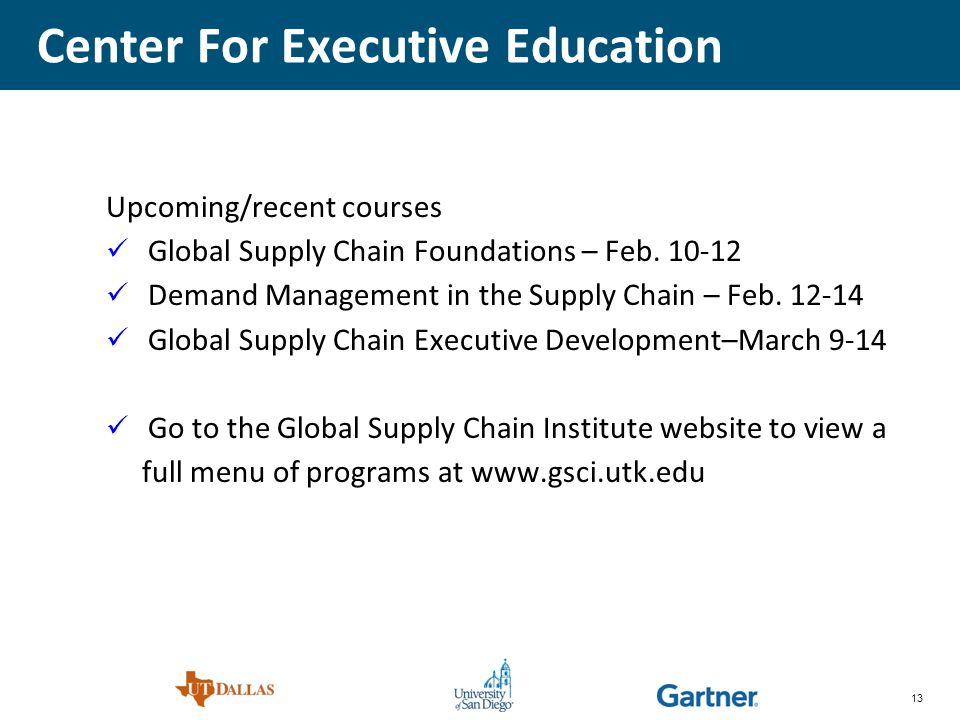 13 Center For Executive Education Upcoming/recent courses Global Supply Chain Foundations – Feb.