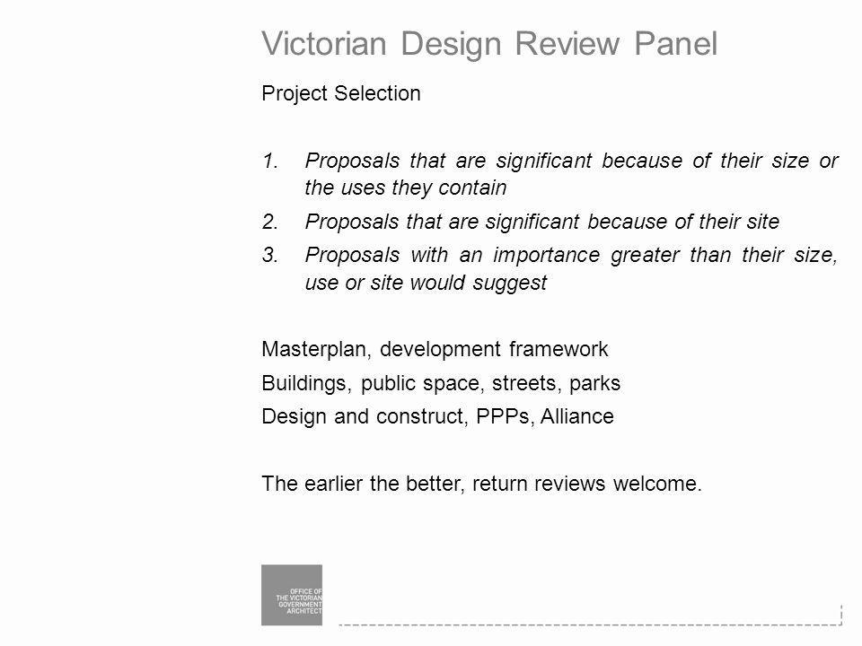 Victorian Design Review Panel Project Selection 1.