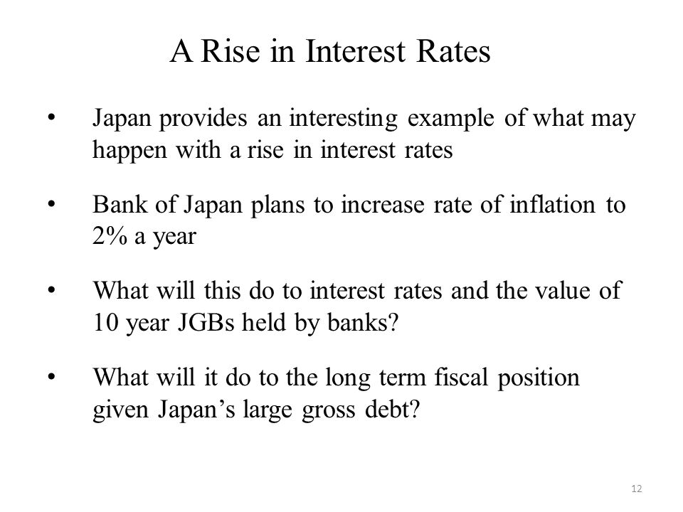 A Rise in Interest Rates Japan provides an interesting example of what may happen with a rise in interest rates Bank of Japan plans to increase rate of inflation to 2% a year What will this do to interest rates and the value of 10 year JGBs held by banks.