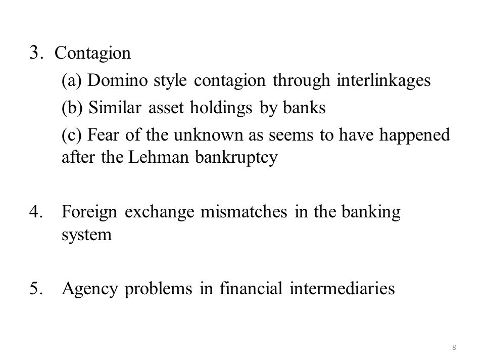 3. Contagion (a) Domino style contagion through interlinkages (b) Similar asset holdings by banks (c) Fear of the unknown as seems to have happened af
