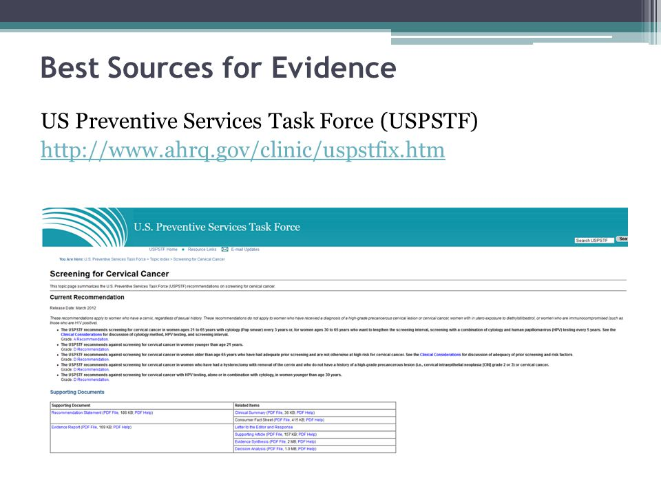 Best Sources for Evidence US Preventive Services Task Force (USPSTF) http://www.ahrq.gov/clinic/uspstfix.htm