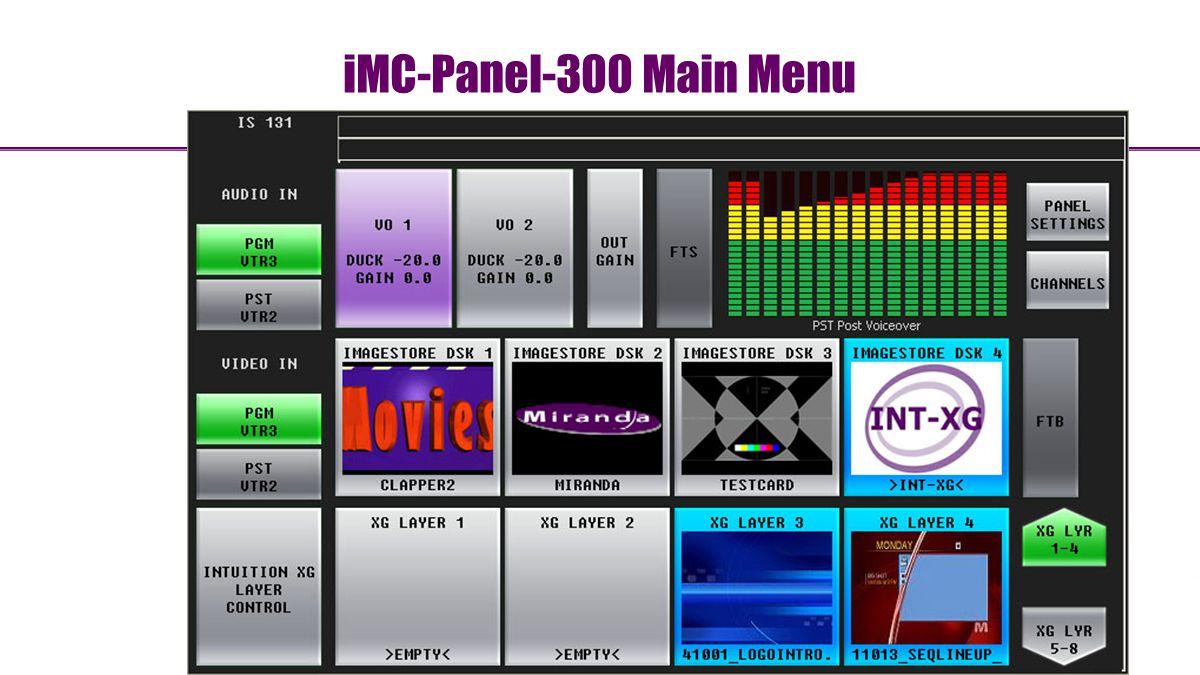 iMC-Panel-300 Main Menu