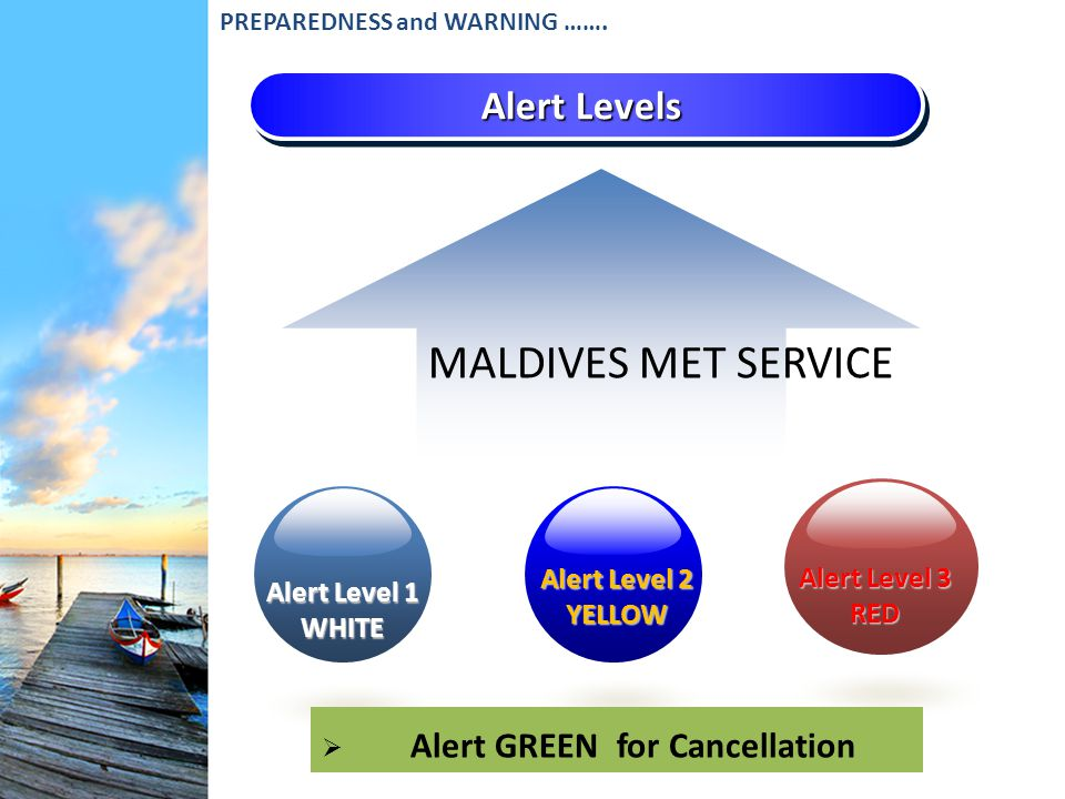 Alert Levels Alert Level 1 WHITE Alert Level 3 RED Alert Level 2 YELLOW Alert GREEN for Cancellation