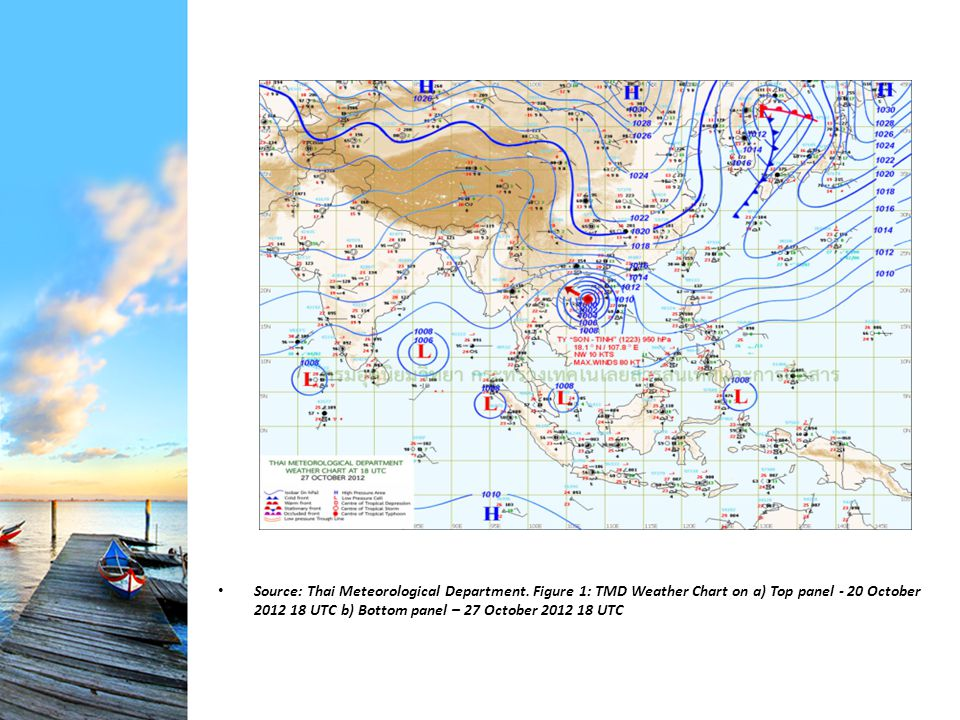 Source: Thai Meteorological Department. Figure 1: TMD Weather Chart on a) Top panel - 20 October 2012 18 UTC b) Bottom panel – 27 October 2012 18 UTC