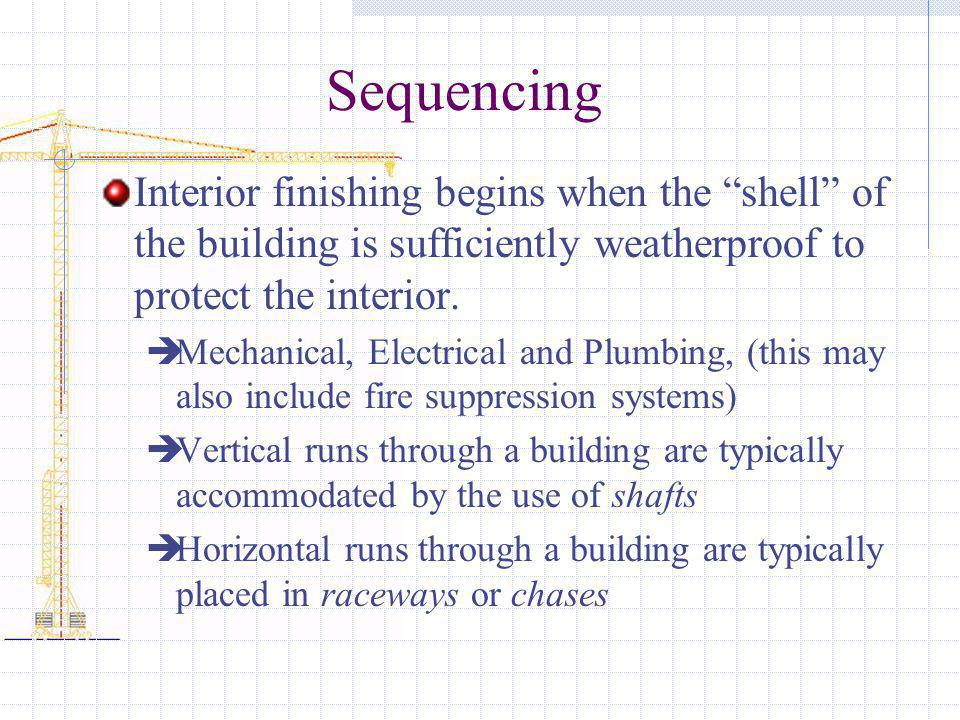 Sequencing Interior finishing begins when the shell of the building is sufficiently weatherproof to protect the interior. Mechanical, Electrical and P