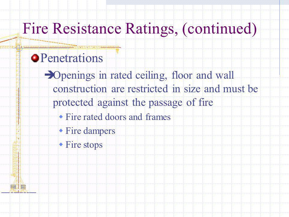 Fire Resistance Ratings, (continued) Penetrations Openings in rated ceiling, floor and wall construction are restricted in size and must be protected