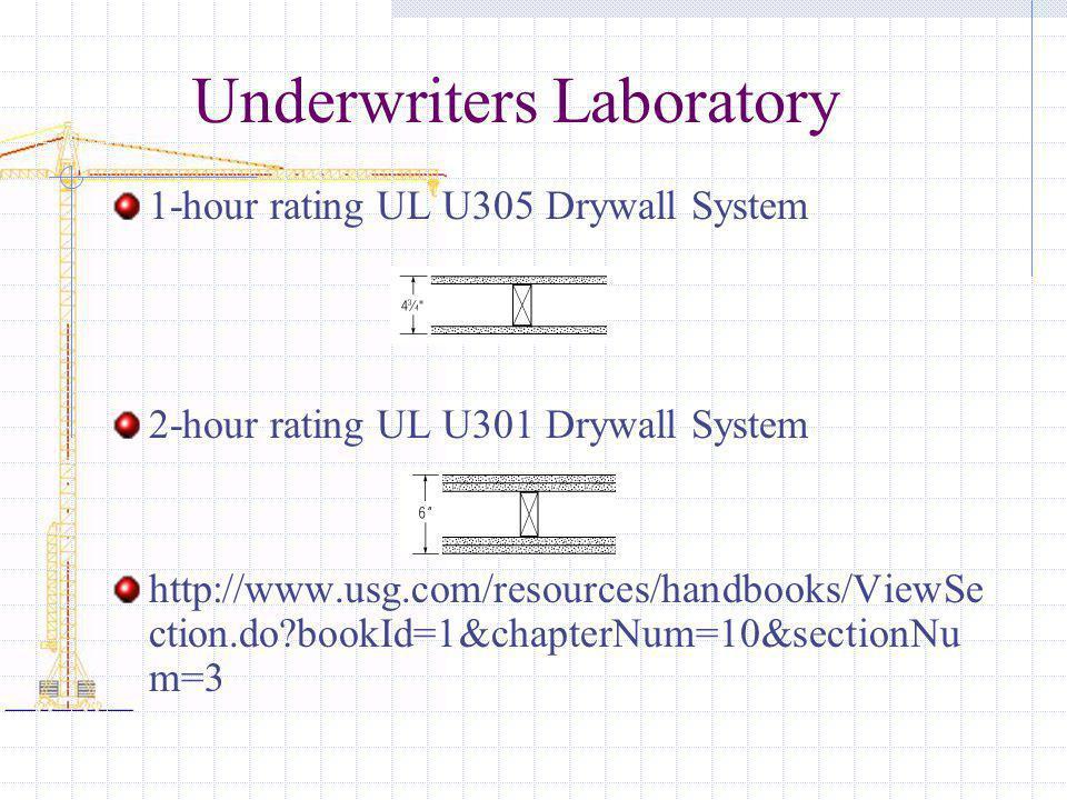 Underwriters Laboratory 1-hour rating UL U305 Drywall System 2-hour rating UL U301 Drywall System http://www.usg.com/resources/handbooks/ViewSe ction.do?bookId=1&chapterNum=10&sectionNu m=3