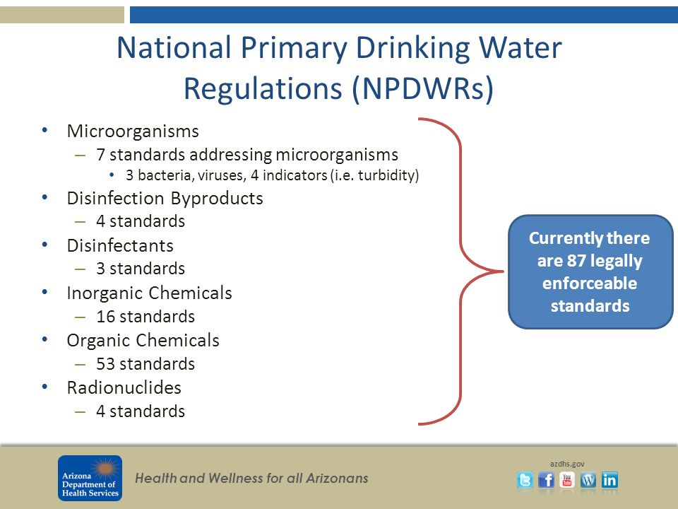 Health and Wellness for all Arizonans azdhs.gov National Primary Drinking Water Regulations (NPDWRs) Microorganisms – 7 standards addressing microorga