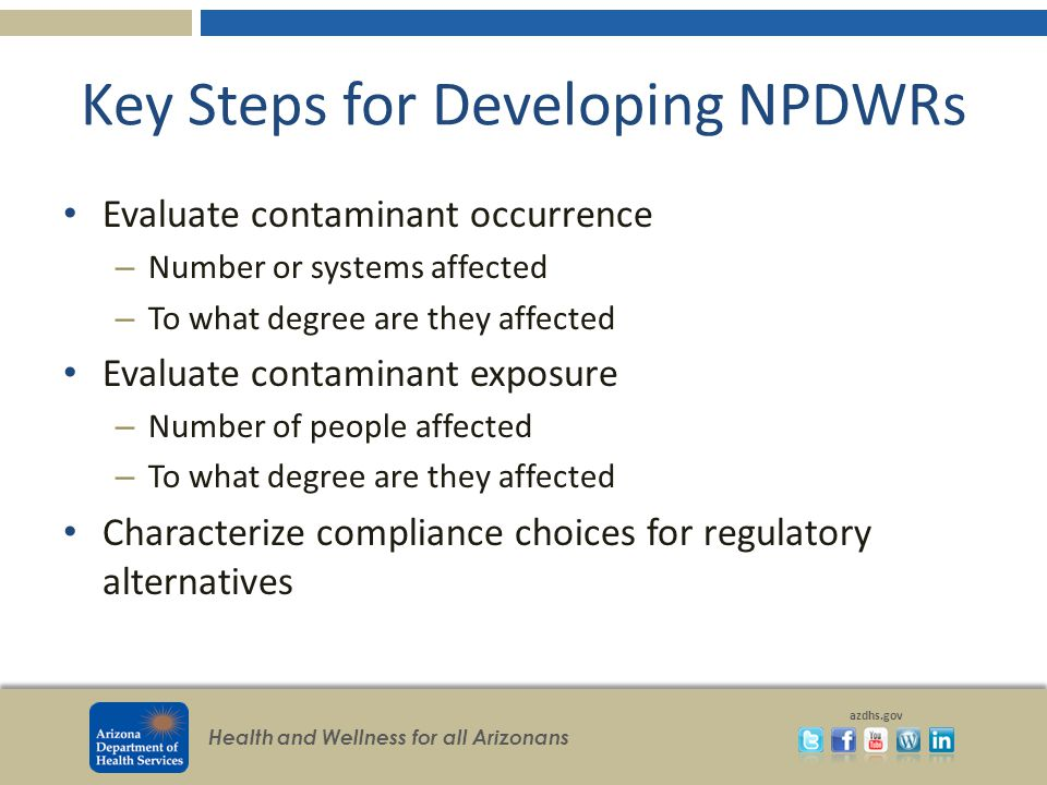 Health and Wellness for all Arizonans azdhs.gov Key Steps for Developing NPDWRs Evaluate contaminant occurrence – Number or systems affected – To what