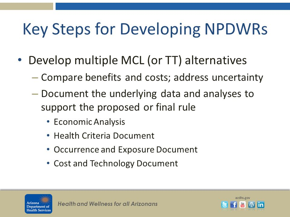 Health and Wellness for all Arizonans azdhs.gov Key Steps for Developing NPDWRs Develop multiple MCL (or TT) alternatives – Compare benefits and costs