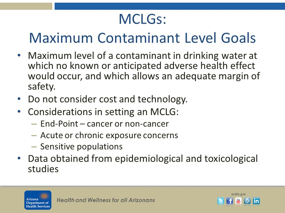 Health and Wellness for all Arizonans azdhs.gov MCLGs: Maximum Contaminant Level Goals Maximum level of a contaminant in drinking water at which no kn