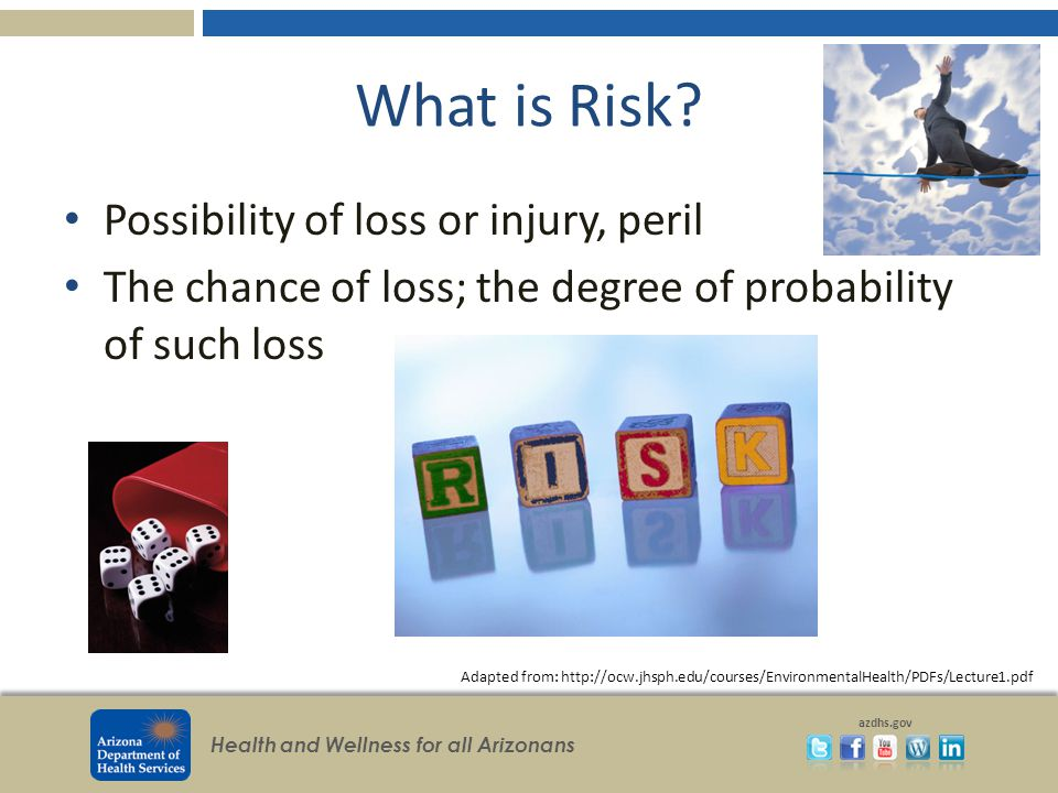 Health and Wellness for all Arizonans azdhs.gov What is Risk? Possibility of loss or injury, peril The chance of loss; the degree of probability of su