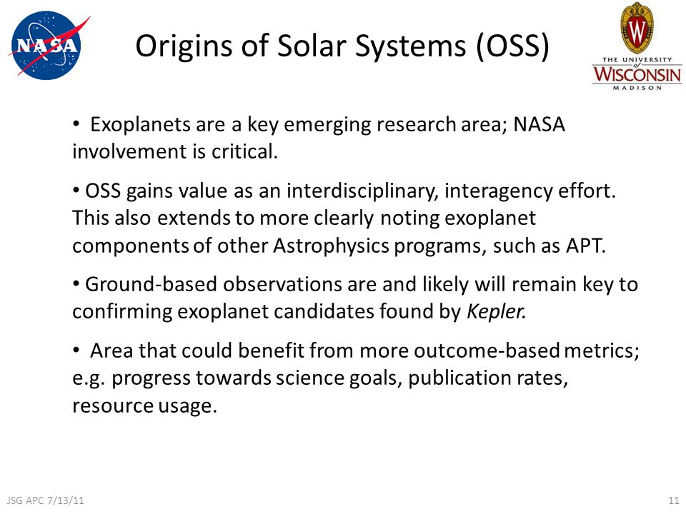 Origins of Solar Systems (OSS) Exoplanets are a key emerging research area; NASA involvement is critical.