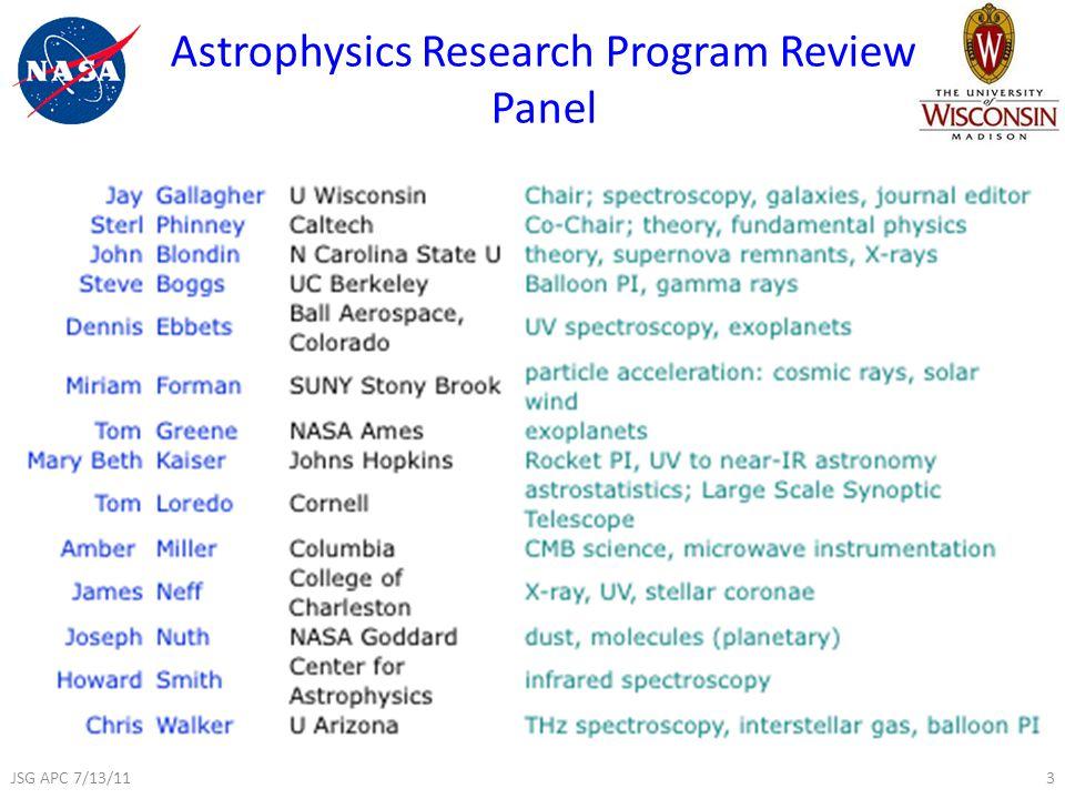 Astrophysics Research Program Review Panel 3JSG APC 7/13/11