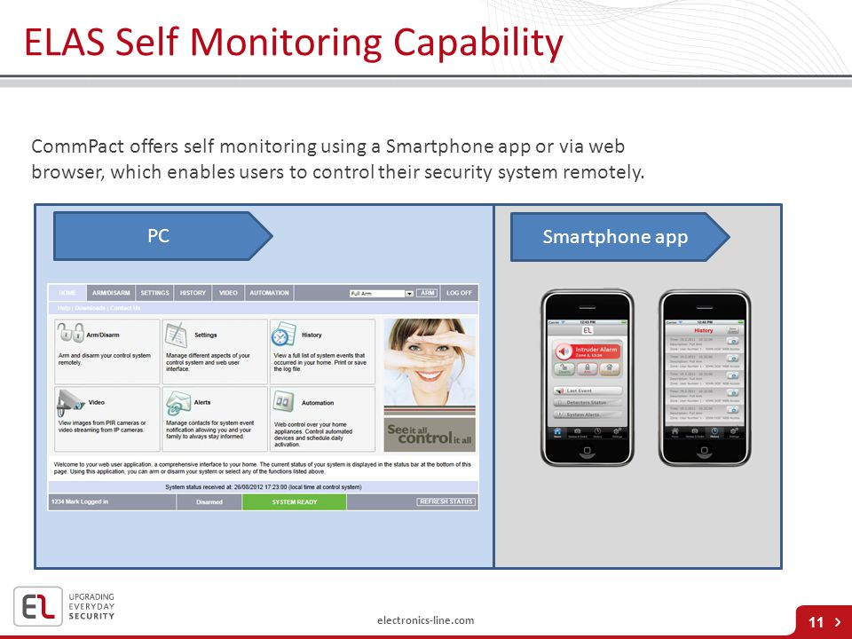 electronics-line.com 11 CommPact offers self monitoring using a Smartphone app or via web browser, which enables users to control their security syste