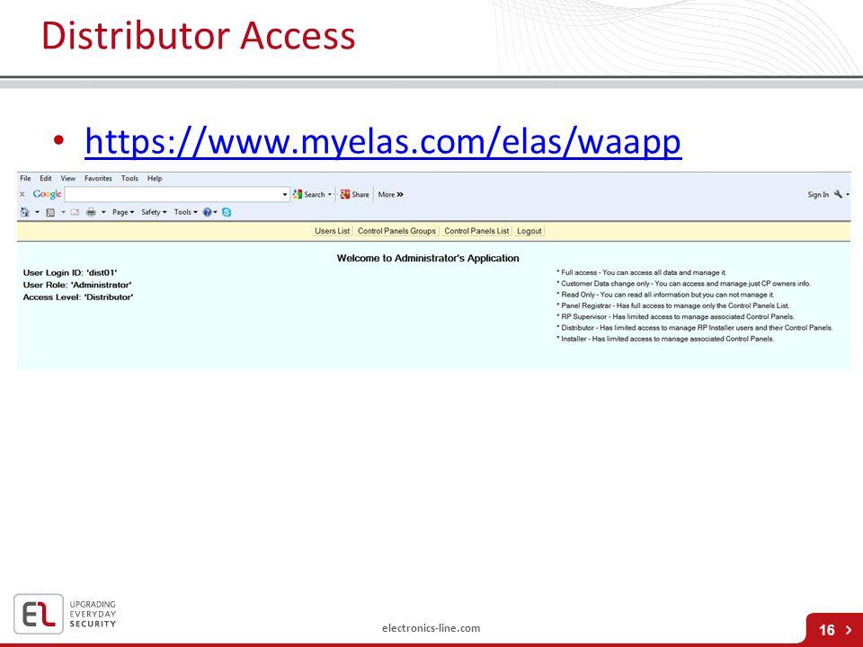 electronics-line.com Distributor Access https://www.myelas.com/elas/waapp 16