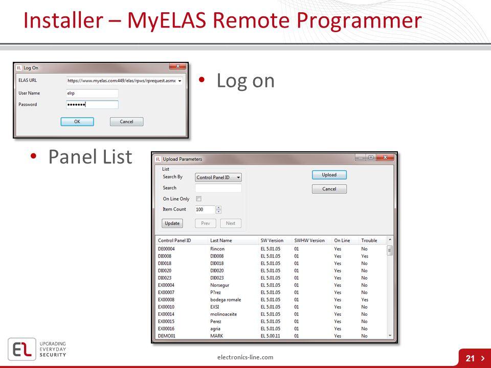 electronics-line.com Installer – MyELAS Remote Programmer 21 Log on Panel List
