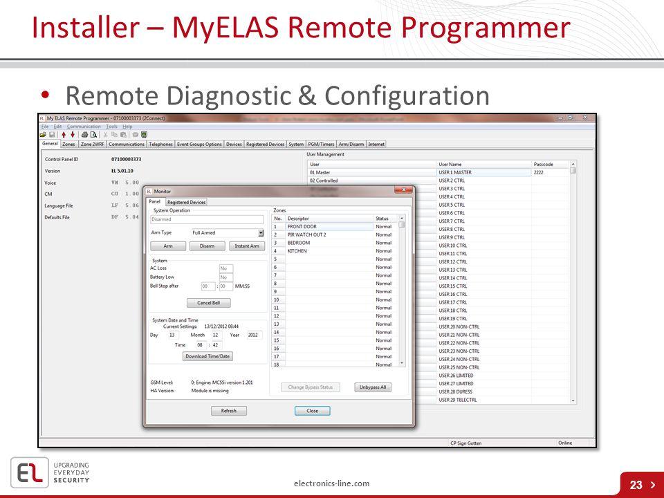 electronics-line.com Installer – MyELAS Remote Programmer 23 Remote Diagnostic & Configuration