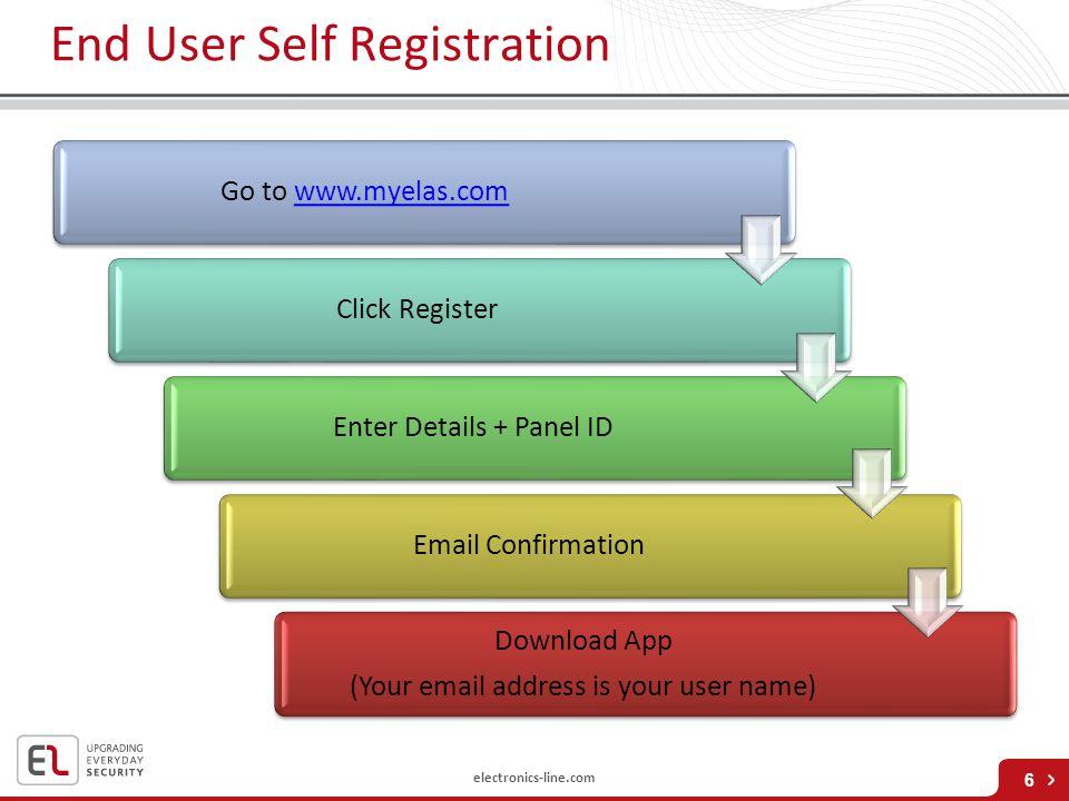 electronics-line.com End User Self Registration Go to www.myelas.comwww.myelas.comClick RegisterEnter Details + Panel IDEmail Confirmation Download Ap