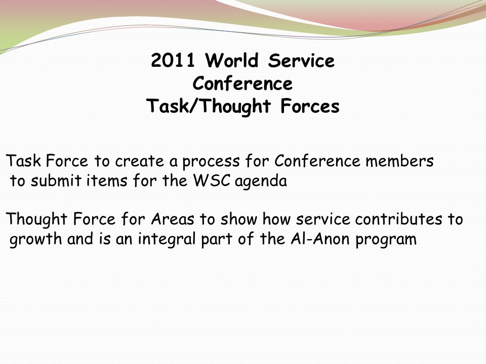 Thought Force on how to include dual members in service work while maintaining our policies Thought Force to identify information for a guideline on memorial contributions Thought Force to support Areas in dealing with groups whose activities fail to consider Al Anon or Alateen as a whole Thought Force II on the Current Conference Structure