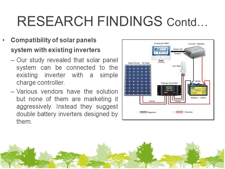 RESEARCH FINDINGS Contd… Compatibility of solar panels system with existing inverters –Our study revealed that solar panel system can be connected to the existing inverter with a simple charge controller.