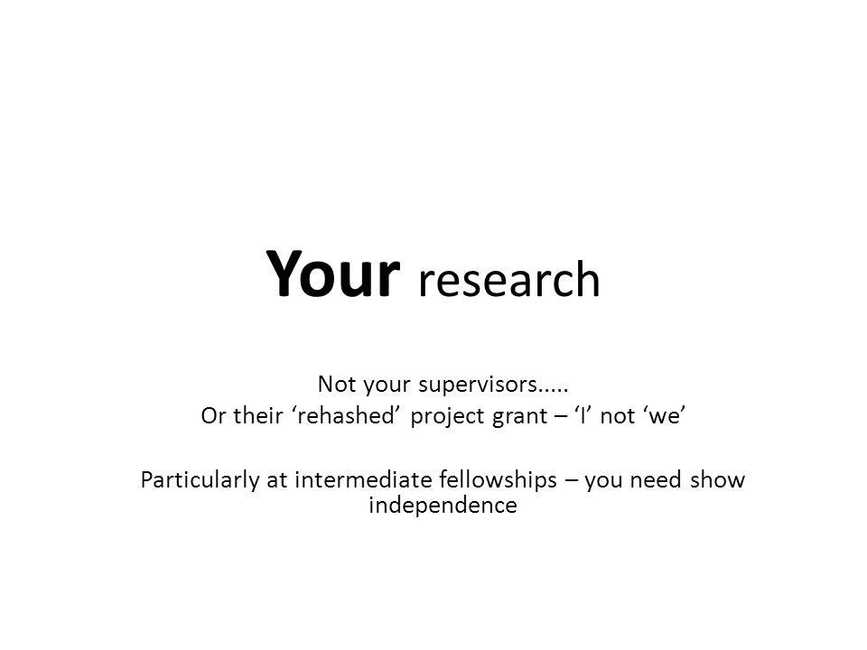 Your research Not your supervisors.....
