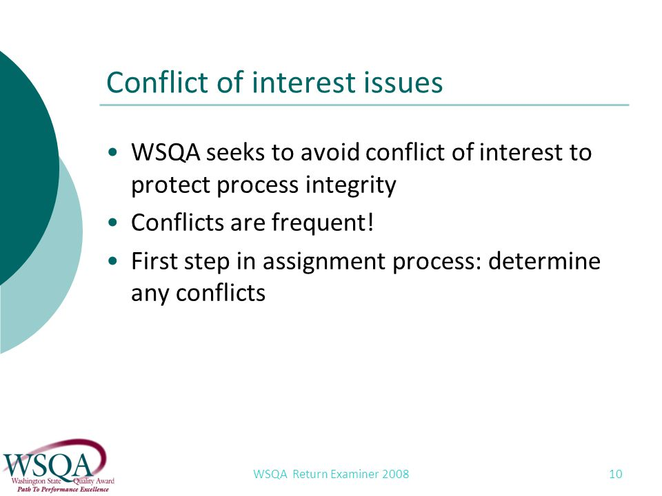WSQA Return Examiner 2008 10 Conflict of interest issues WSQA seeks to avoid conflict of interest to protect process integrity Conflicts are frequent.