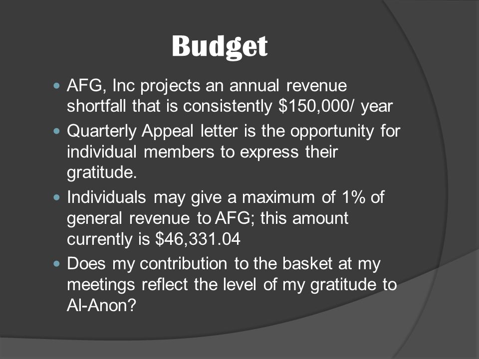 AFG, Inc projects an annual revenue shortfall that is consistently $150,000/ year Quarterly Appeal letter is the opportunity for individual members to express their gratitude.
