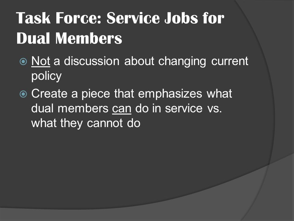 Task Force: Service Jobs for Dual Members Not a discussion about changing current policy Create a piece that emphasizes what dual members can do in service vs.