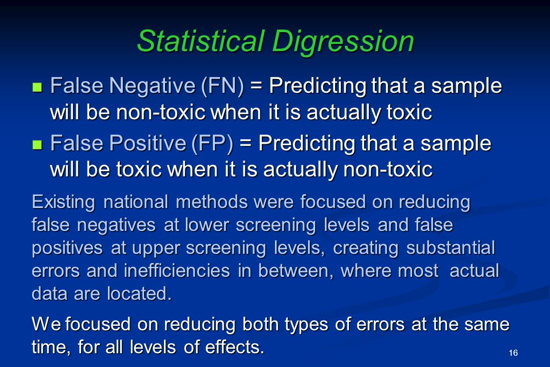 Statistical Digression False Negative (FN) = Predicting that a sample will be non-toxic when it is actually toxic False Negative (FN) = Predicting that a sample will be non-toxic when it is actually toxic False Positive (FP) = Predicting that a sample will be toxic when it is actually non-toxic False Positive (FP) = Predicting that a sample will be toxic when it is actually non-toxic Existing national methods were focused on reducing false negatives at lower screening levels and false positives at upper screening levels, creating substantial errors and inefficiencies in between, where most actual data are located.
