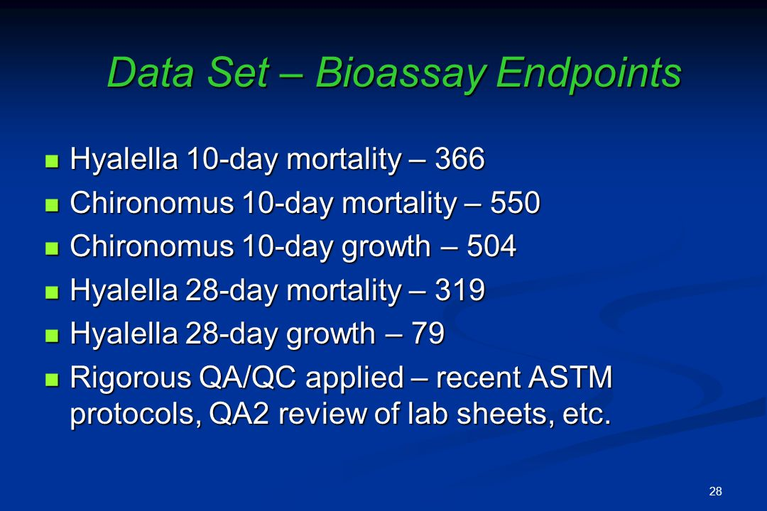 Data Set – Bioassay Endpoints Hyalella 10-day mortality – 366 Hyalella 10-day mortality – 366 Chironomus 10-day mortality – 550 Chironomus 10-day mortality – 550 Chironomus 10-day growth – 504 Chironomus 10-day growth – 504 Hyalella 28-day mortality – 319 Hyalella 28-day mortality – 319 Hyalella 28-day growth – 79 Hyalella 28-day growth – 79 Rigorous QA/QC applied – recent ASTM protocols, QA2 review of lab sheets, etc.