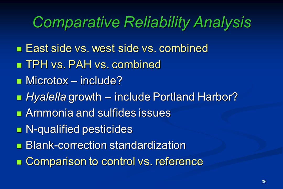 Comparative Reliability Analysis East side vs. west side vs.