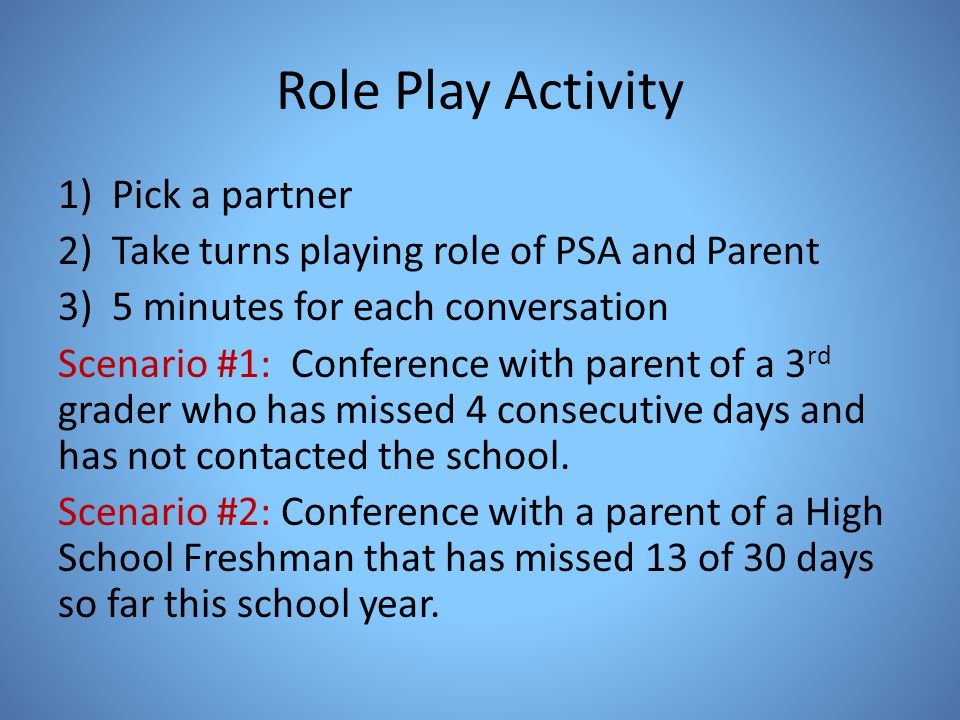 Role Play Activity 1)Pick a partner 2)Take turns playing role of PSA and Parent 3)5 minutes for each conversation Scenario #1: Conference with parent