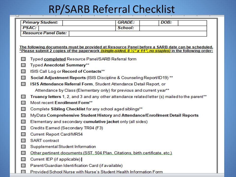 RP/SARB Referral Checklist